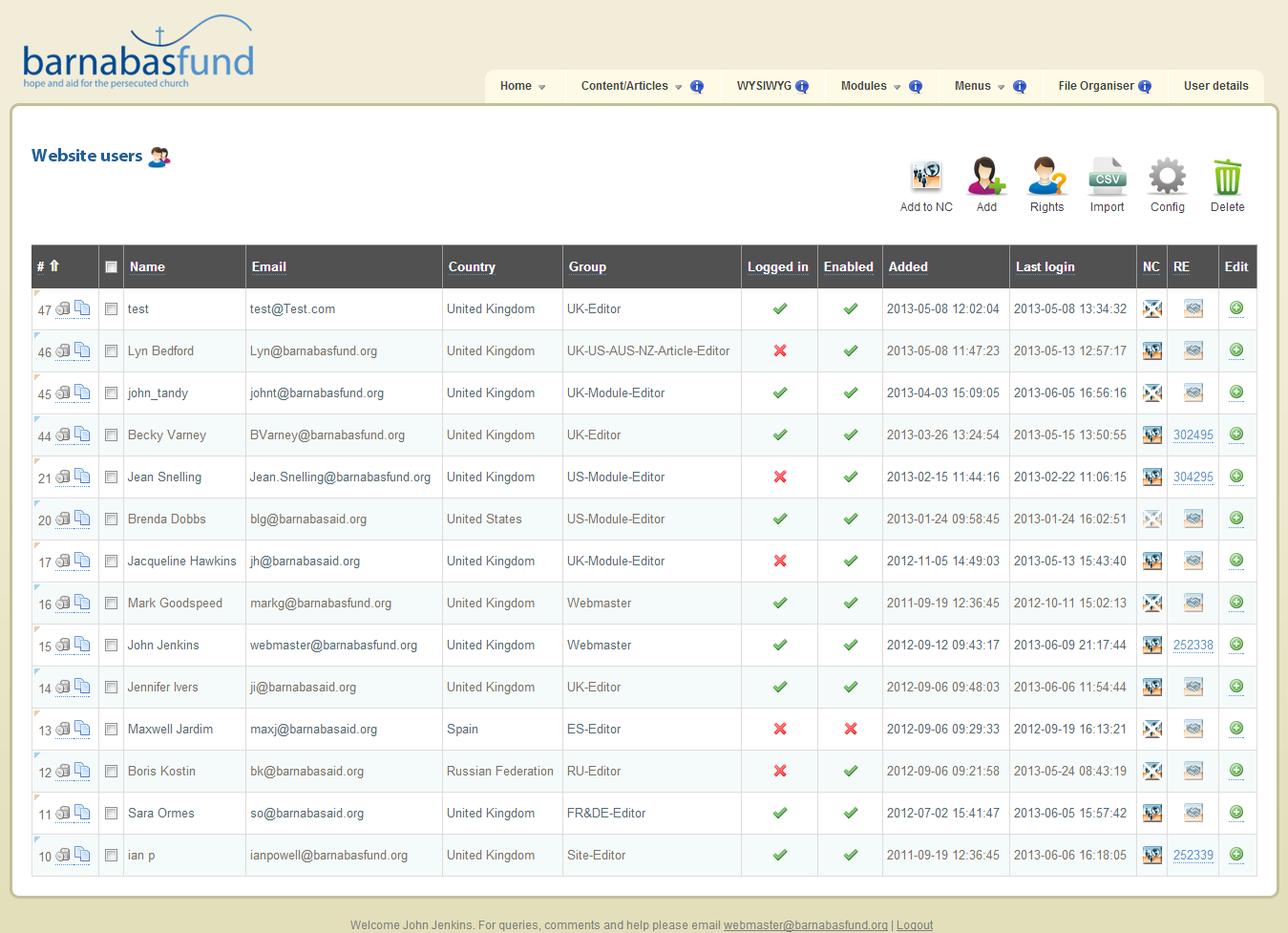 Barnabas Fund Backend Screen Shot